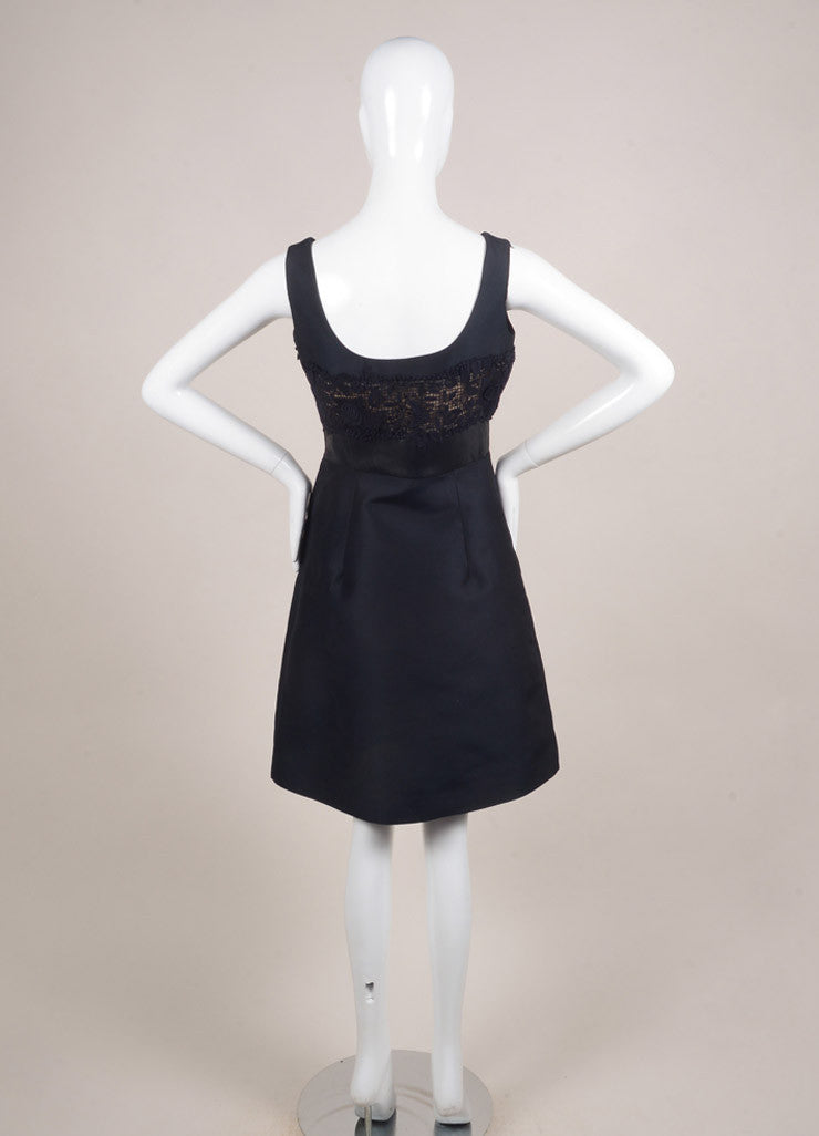 Valentino Navy Cotton and Leather Crochet Sleeveless A-Line Dress Backview