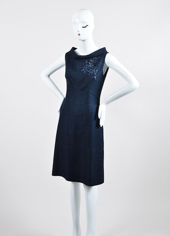 Navy Valentino Silk Knit Embroidered Embellished Sleeveless Sheath Dress Sideview