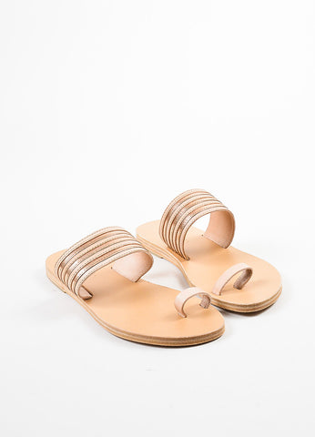 Valia Gabriel Tan and Rose Gold Stripe Toe Strap Slide Sandals frontview
