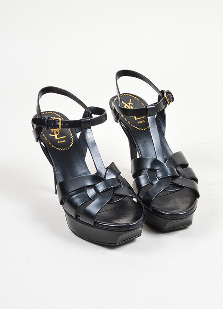 "Black Yves Saint Laurent Leather High Heeled ""Tribute"" Sandals Frontview"