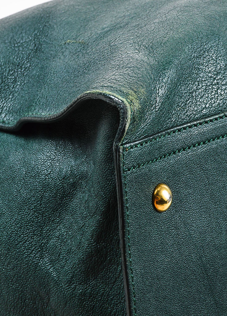 "Yves Saint Laurent Dark Green Gold Hardware ""Medium Cabas Chyc"" Bag Detail"