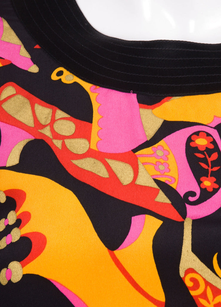 Black, Pink, and Orange Silk Shoe Printed Top