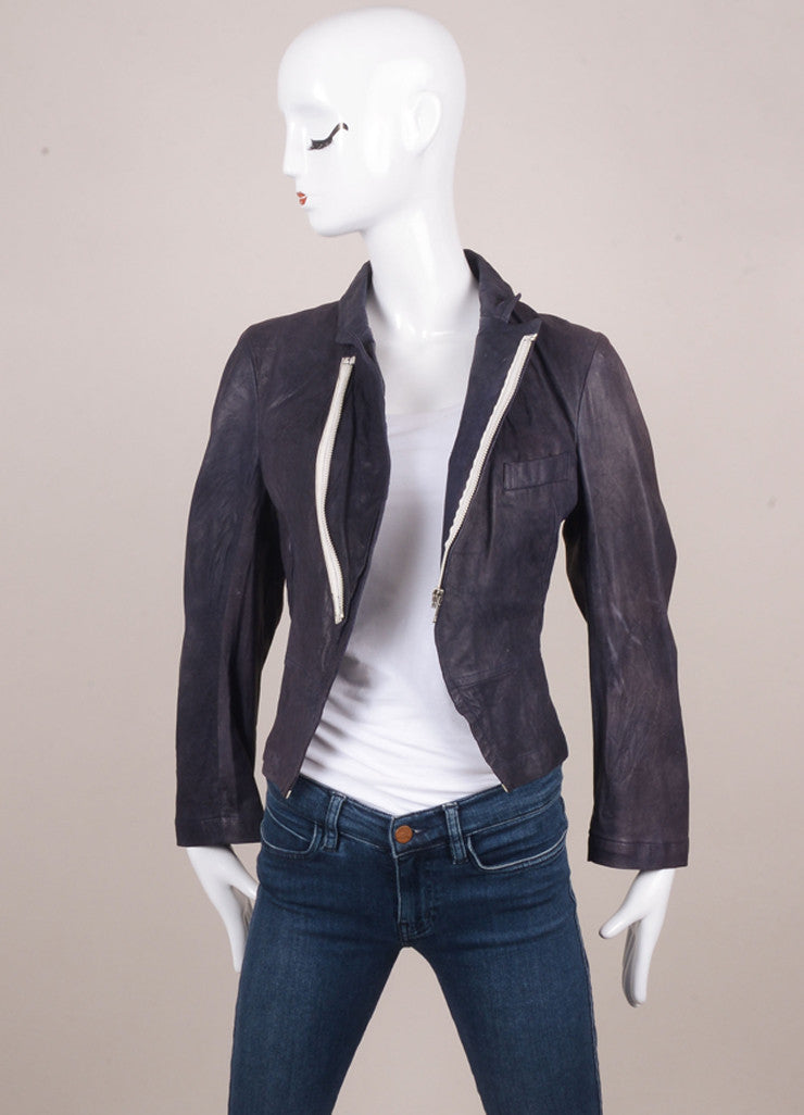 Navy Lightweight Zippered Short Leather Jacket