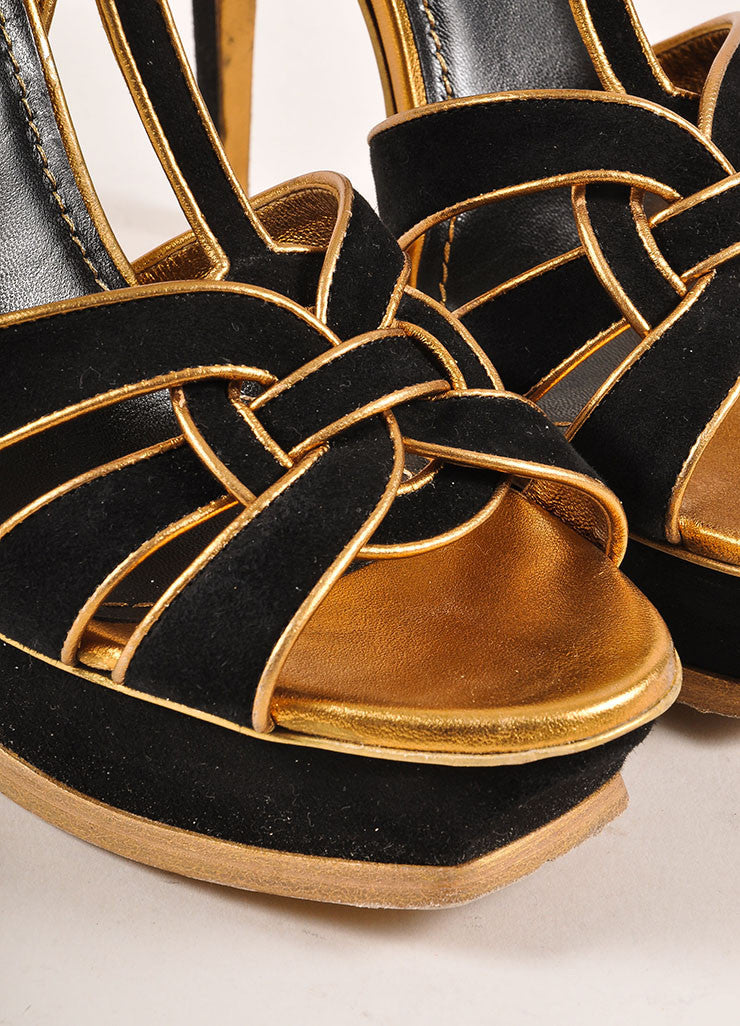 Yves Saint Laurent Black and Metallic Bronze Suede and Leather Platform Sandals Detail