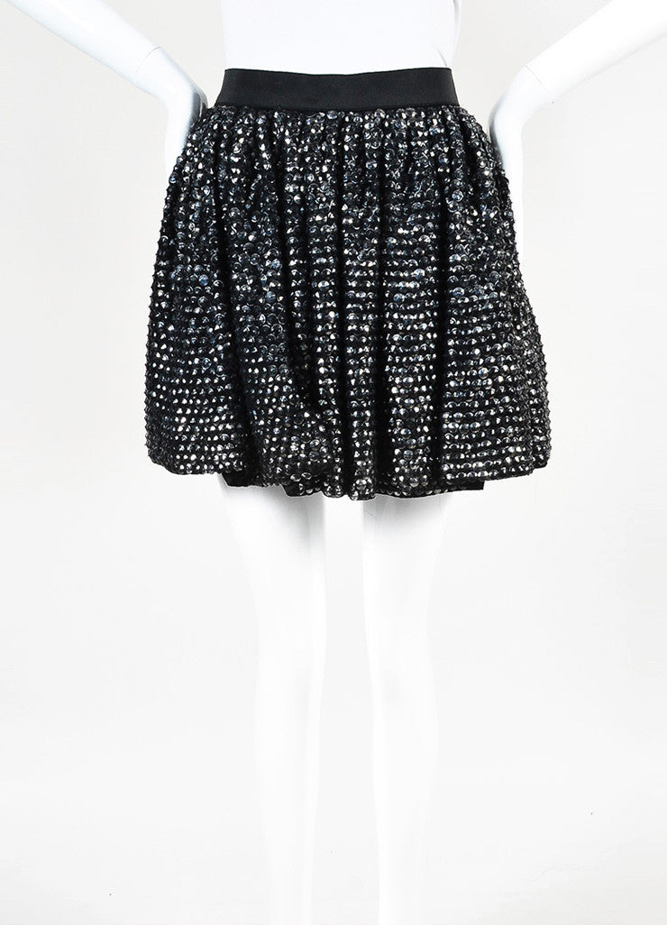 3.1 Phillip Lim Black Silver Distressed Sequin Elastic Waist Flare Skirt Frontview