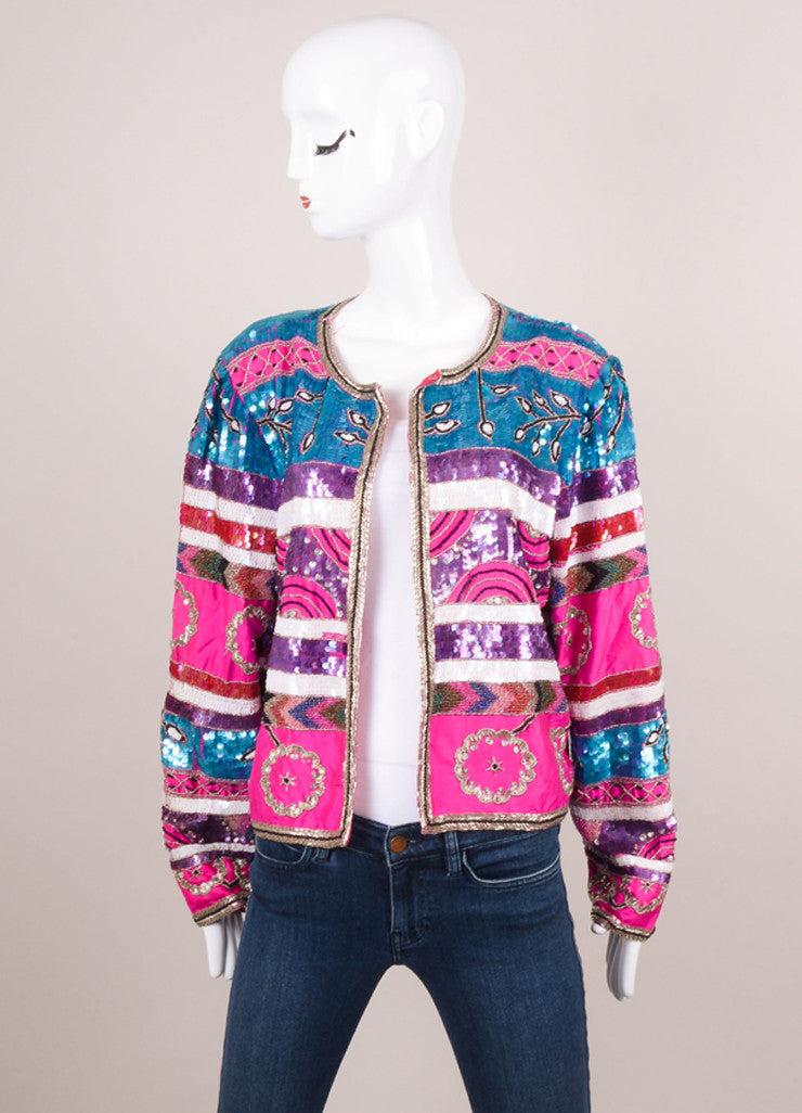 Multicolor Sequin and Beaded Embellished Silk Long Sleeve Jacket