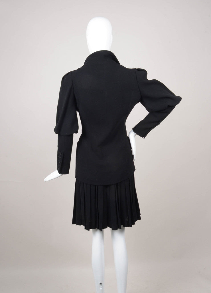Black Chloe Juliet Sleeve Buttoned Jacket and Pleated Skirt Suit