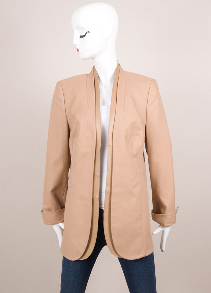 Akris New With Tags Tan Knit Leather Trim Long Sleeve Blazer Frontview