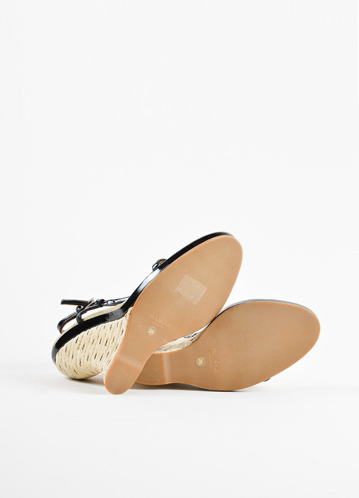 Alaia Black Patent Leather Espadrille Wedge T-Strap Sandals Outsoles