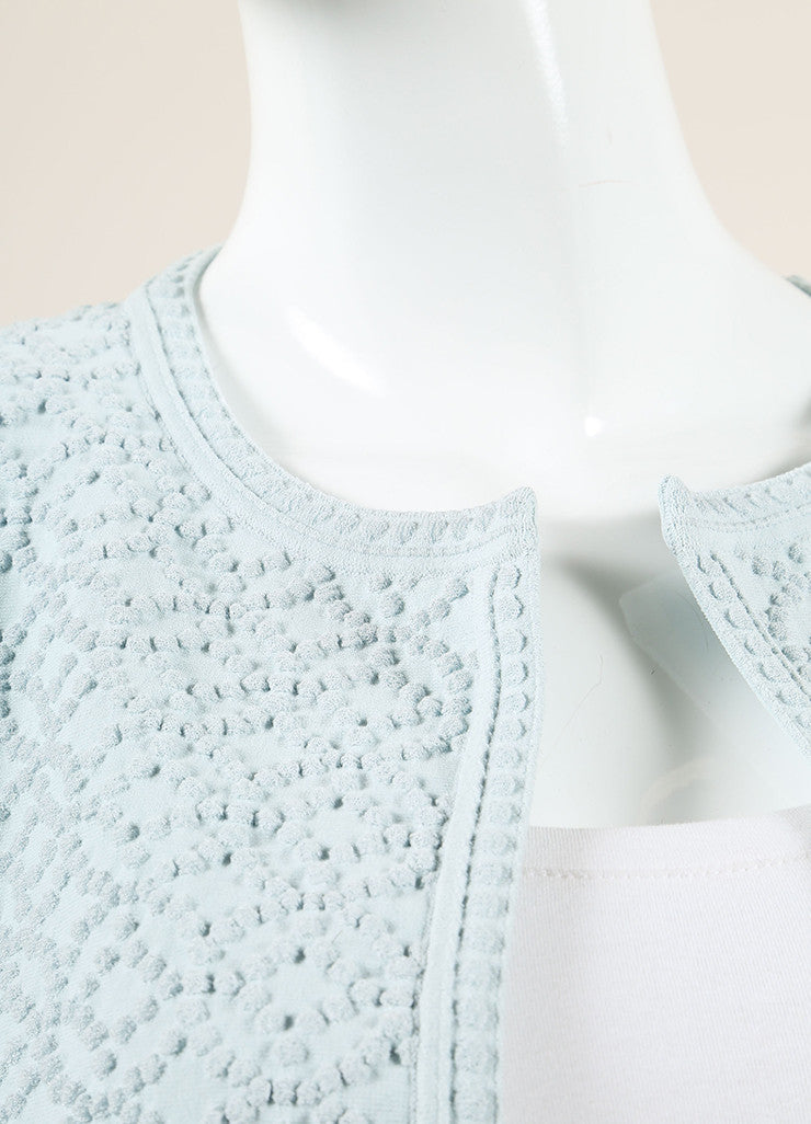 Alaia Light Blue Textured Knit Open Front Cropped Jacket Detail