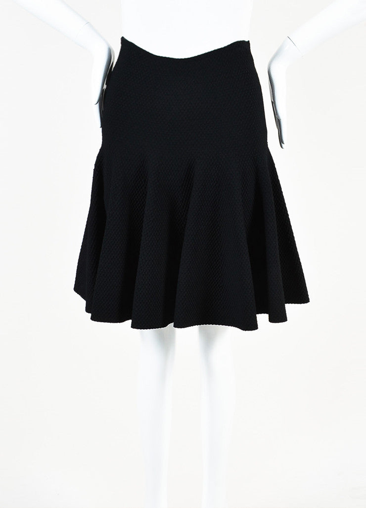 Alaia Black Knit Matelasse Flared Skirt Frontview