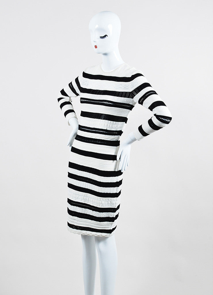 Black and White Alexander McQueen Open Knit Striped Sweater Dress Sideview
