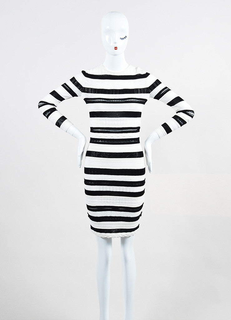 Black and White Alexander McQueen Striped Sweater Dress Front