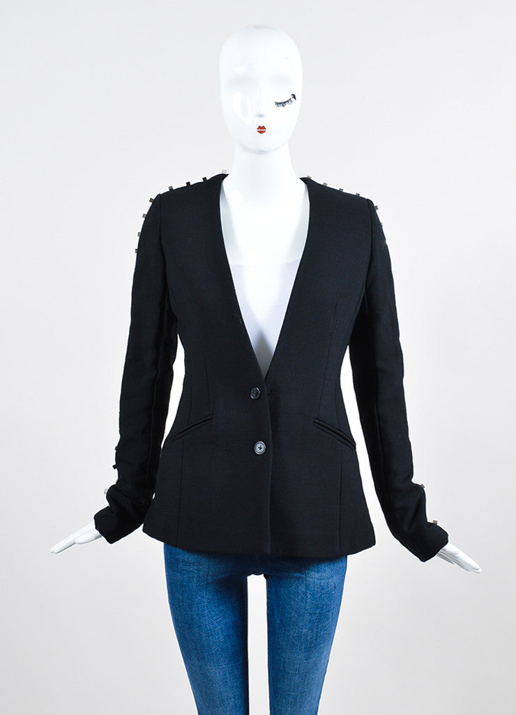 "Black Alexander Wang Wool Blend Studded Backless ""Rivet"" Blazer Frontview 2"