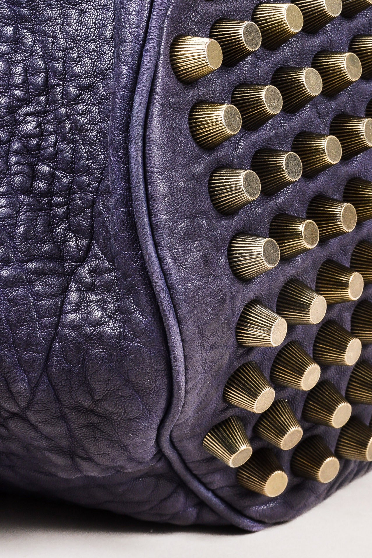 "Alexander Wang Dark Purple Pebbled Leather Brass Stud ""Diego"" Bucket Bag Detail"