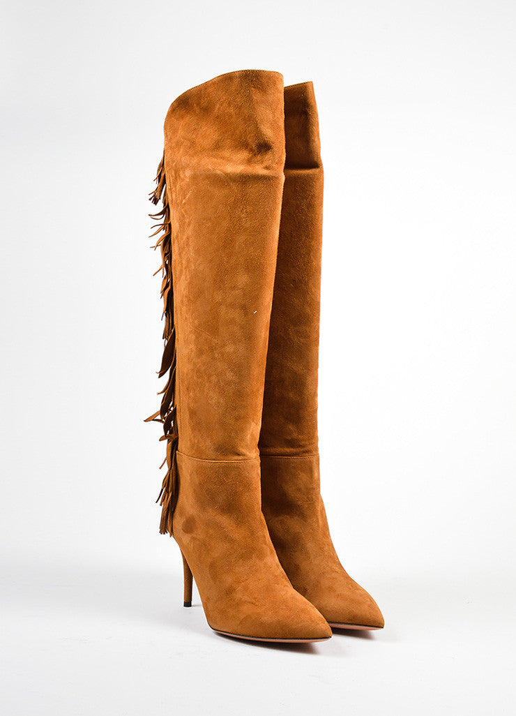 "Aquazzura Cognac Suede Tiered Fringe ""Jagger 85"" Boots Frontview"