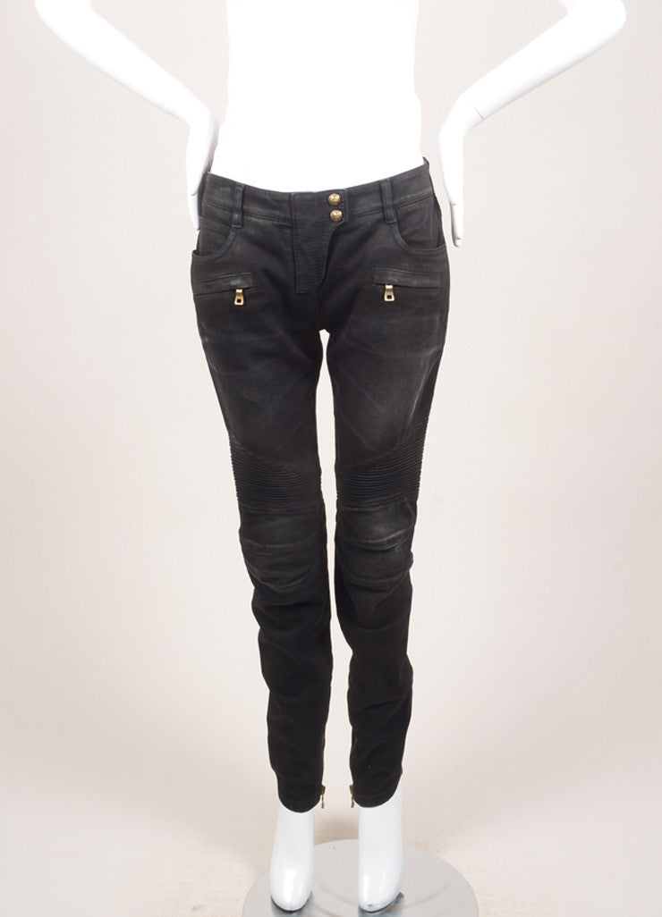 Balmain New With Tags Black Washed Stretch Cotton Quilted Moto Biker Pants Frontview