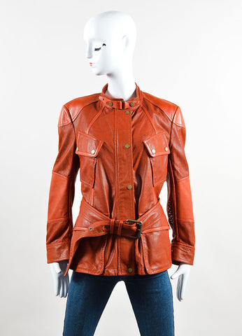 Belstaff Rust Red Leather Perforated Belted Mid Length Long Sleeve Safari Jacket Front
