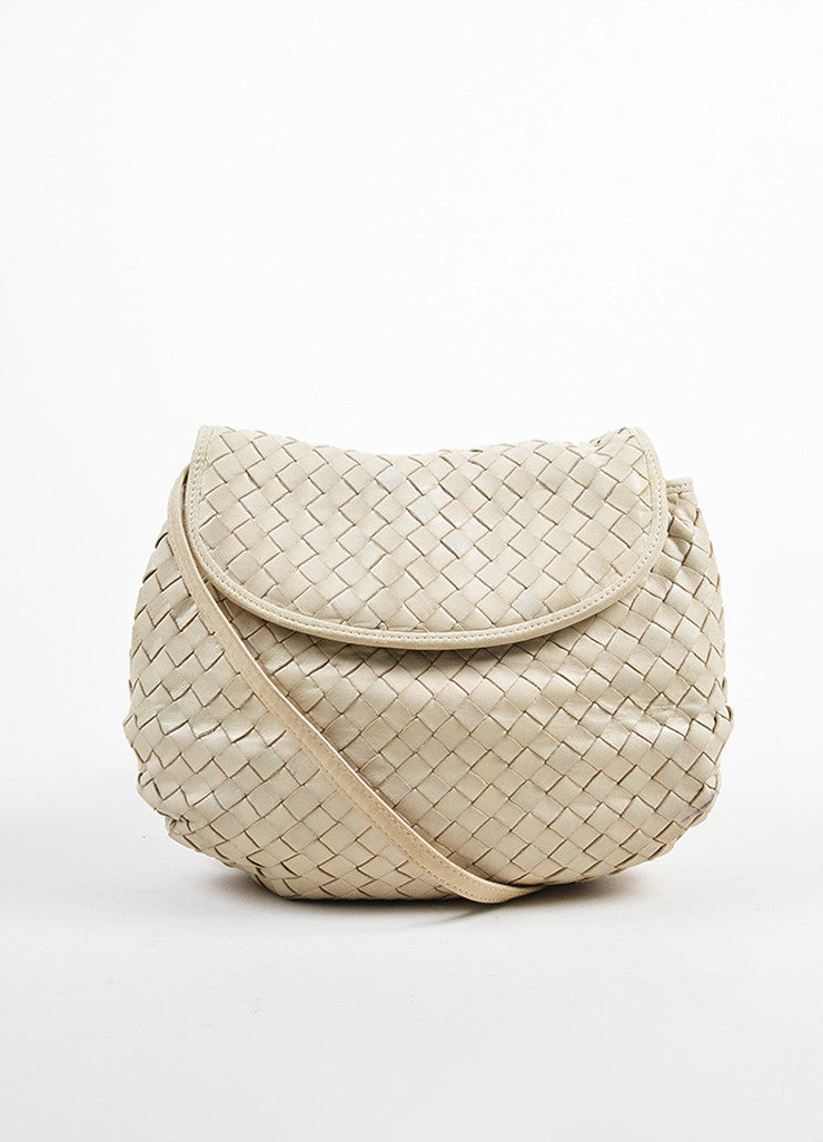 Bottega Veneta Beige Leather Intrecciato Woven Crossbody Shoulder Bag Frontview