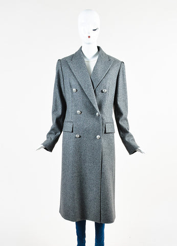 Celine Grey Wool and Cashmere Jewel Cluster Button Double Breasted Coat Frontview 2