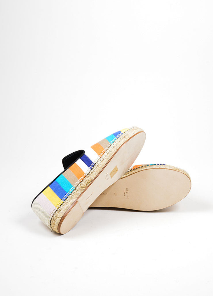 Multicolor Celine Canvas Striped Flat Espadrille Slipper Loafers Outsoles
