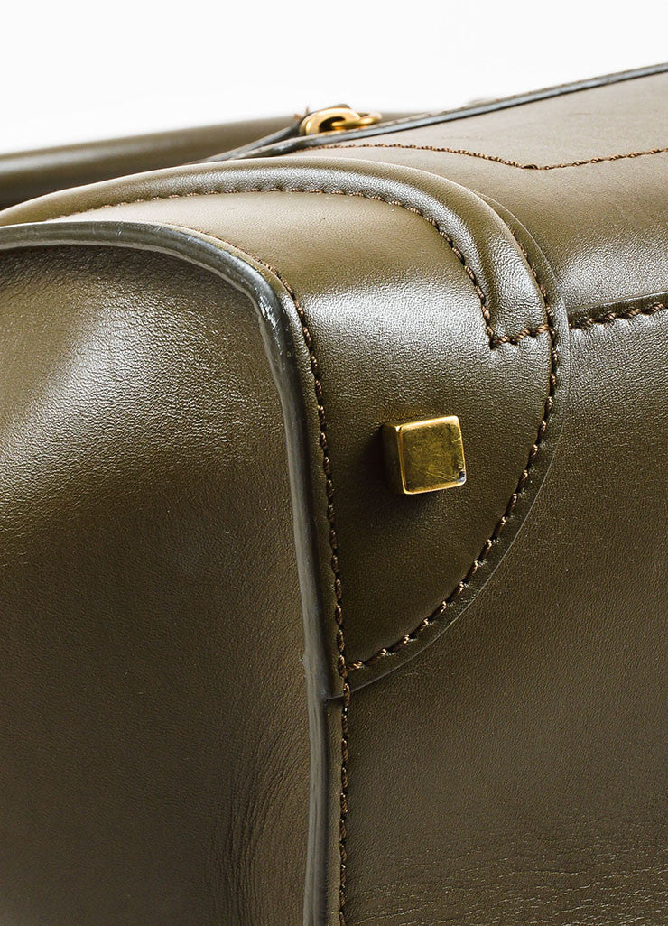 "Celine Olive Green Leather ""Mini Luggage Tote"" Bag Detail"