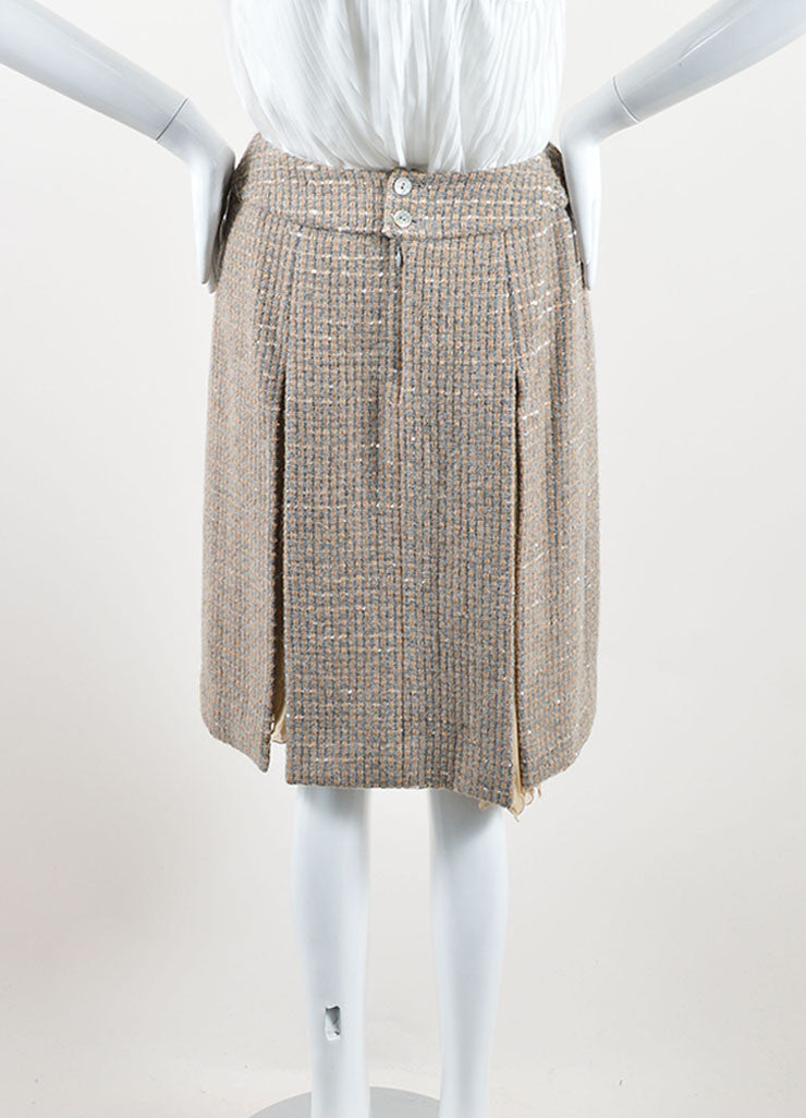 Chanel Beige and Grey Tweed Panel Pleated A-Line Skirt Back