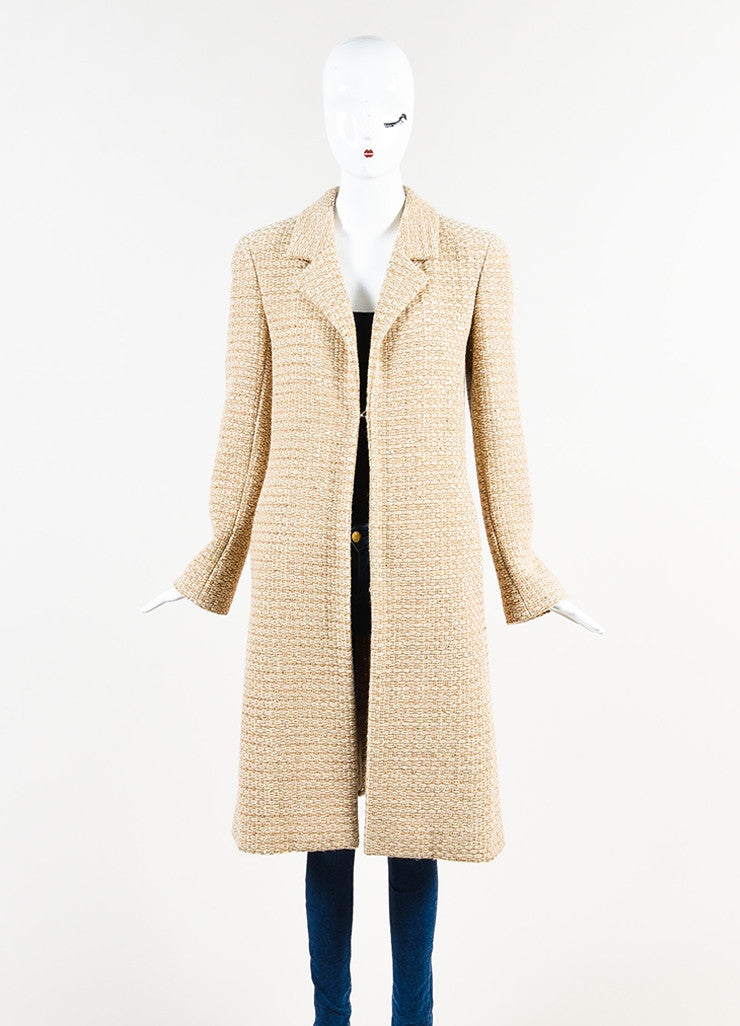Chanel Tan and Cream Wool Blend Woven Patterned Sequin Coat Frontview 2