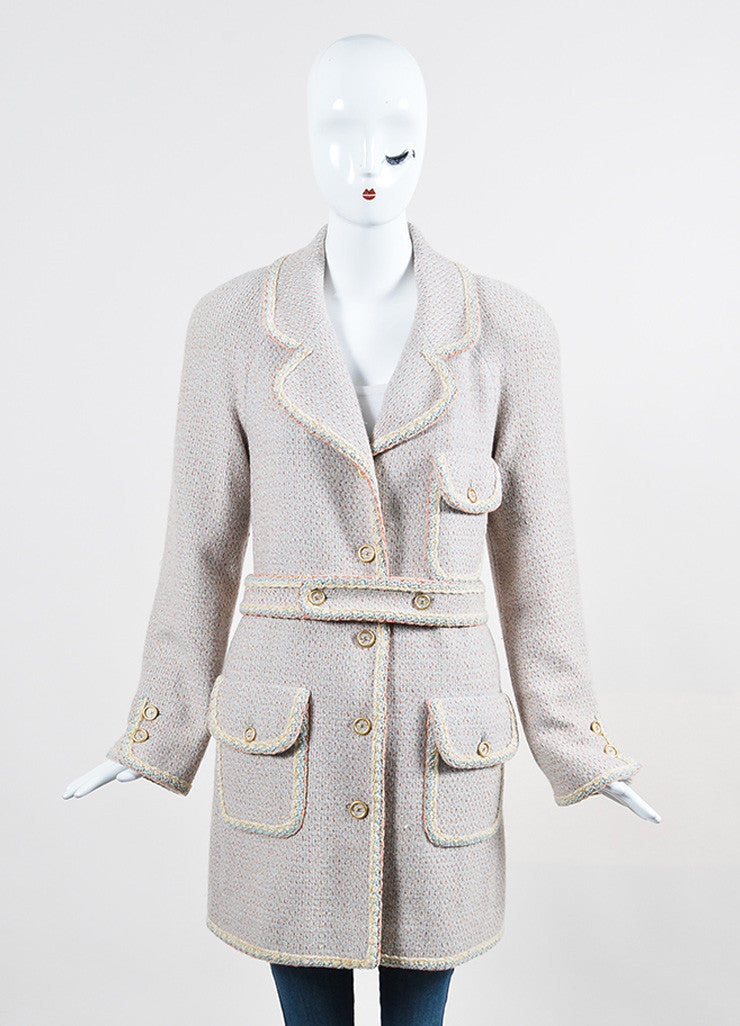 Pink, Blue, and Cream Chanel Tweed Knit Trim 'CC' Button Coat Frontview 2