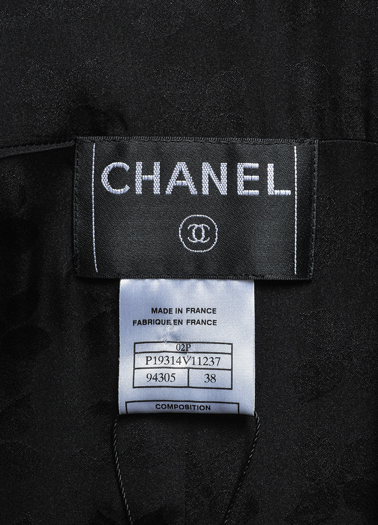 Black Chanel Silk Pearl Embellished Button Long Jacket Brand