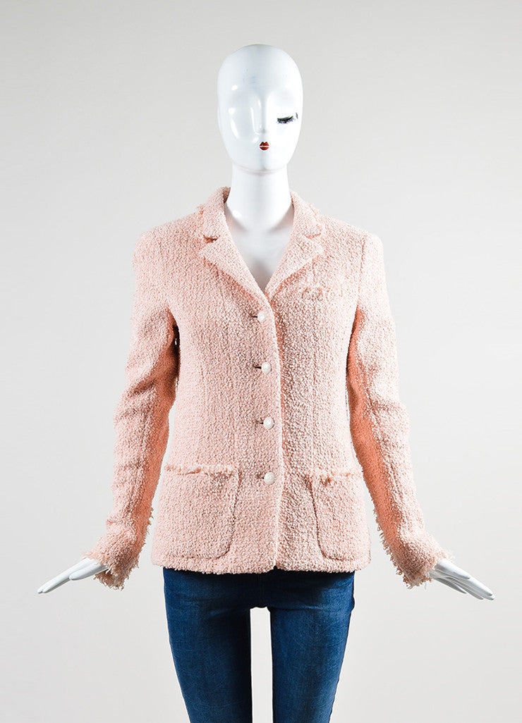 Pink Chanel Cotton and Wool Tweed 'CC' Button Fringe Trim Blazer Jacket Frontview 2