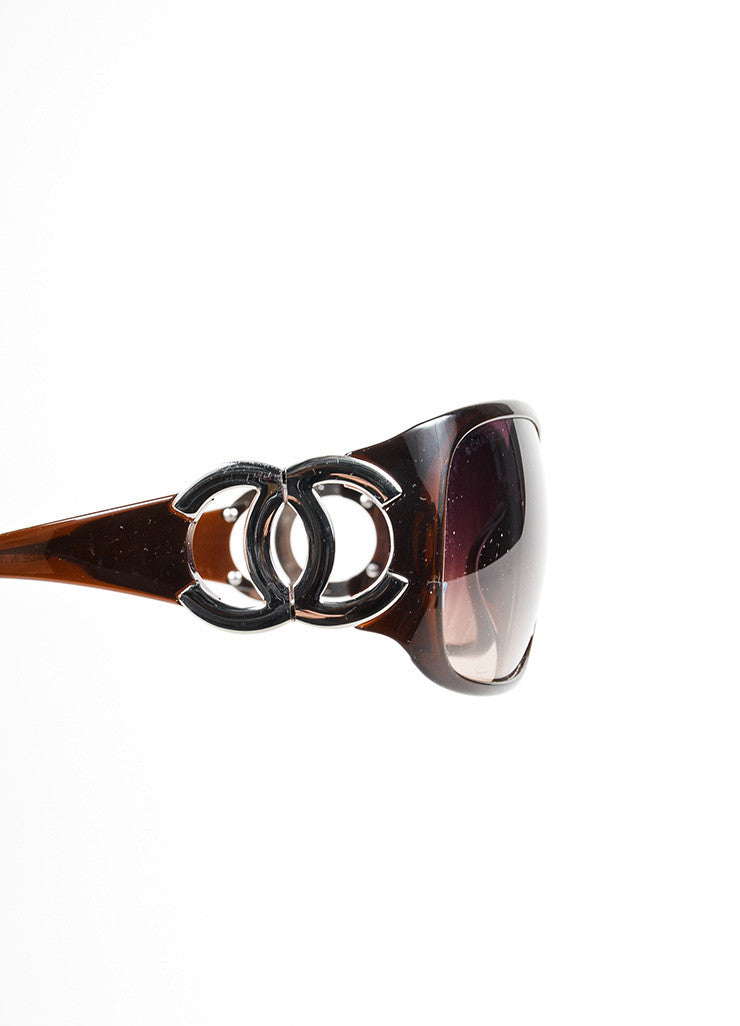 "Chanel Amber Brown Plastic and Silver Toned 'CC' Logo ""6014"" Wrap Sunglasses Detail"