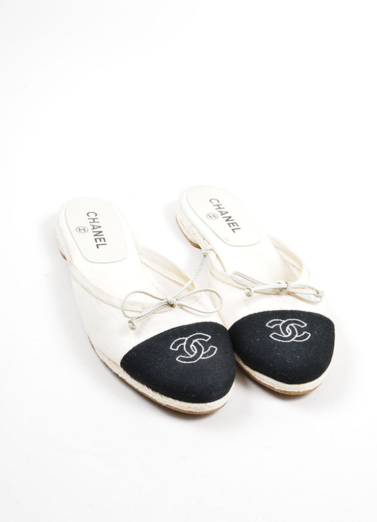 Black and Cream Chanel Canvas Embroidered Ballet Braided Round Toe Slip On Flats Frontview