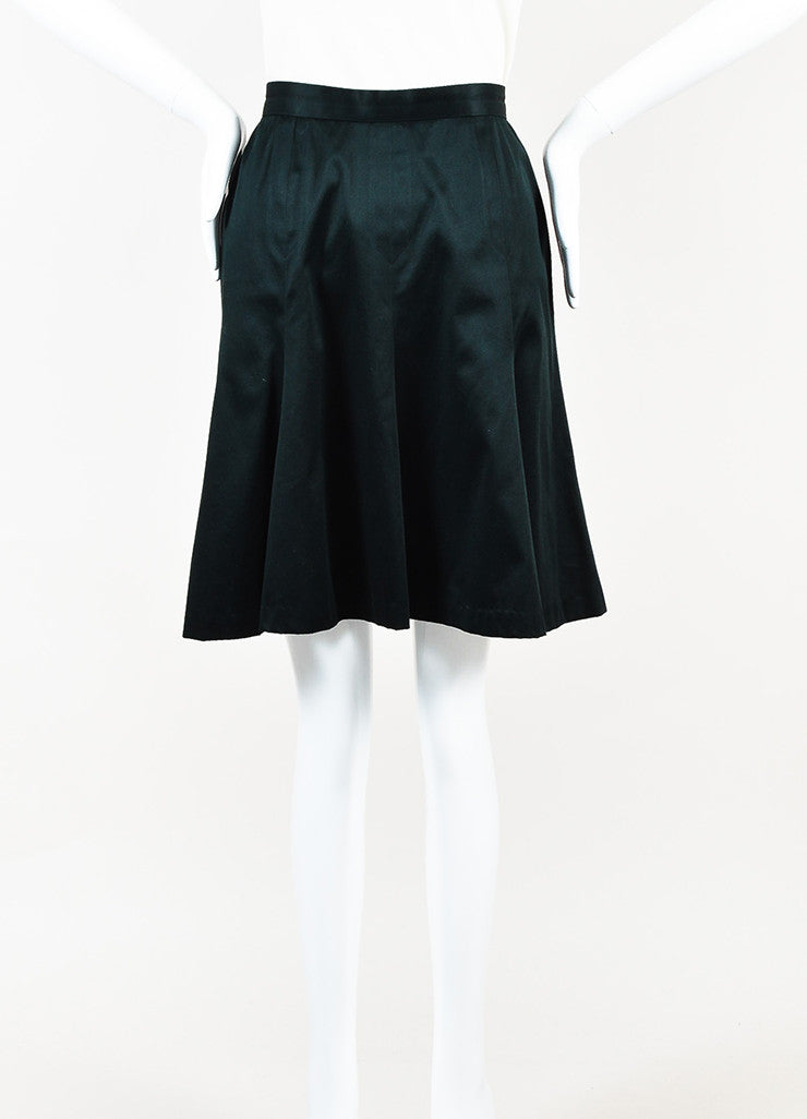 Chanel Black Gold Toned 'CC' Button Trumpet Skirt Frontview