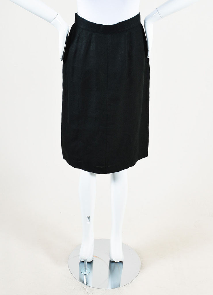 Chanel Black Linen Gold Toned 'CC' Button Down Knee Length Pencil Skirt Backview
