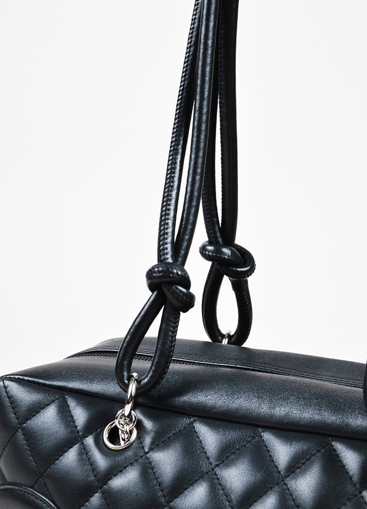 "Black Chanel Quilted Lambskin ""Ligne Cambon Bowler Bag"" Detail 3"