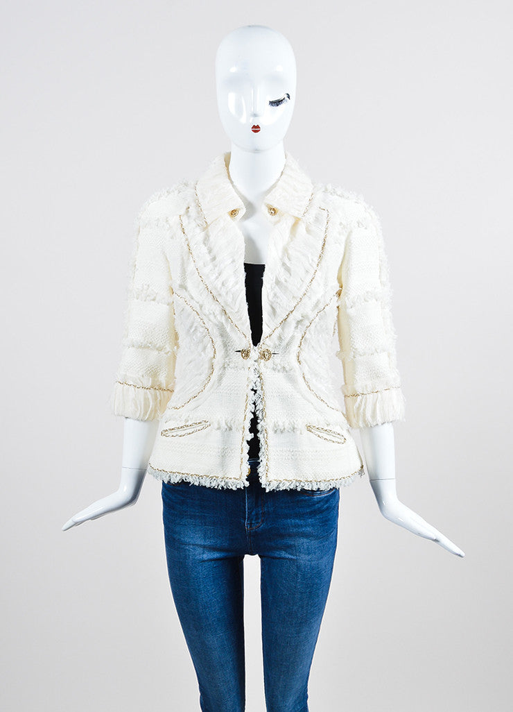 Cream and Gold Chanel Woven Knit Chain Trim Fringe Crop Sleeve Blazer