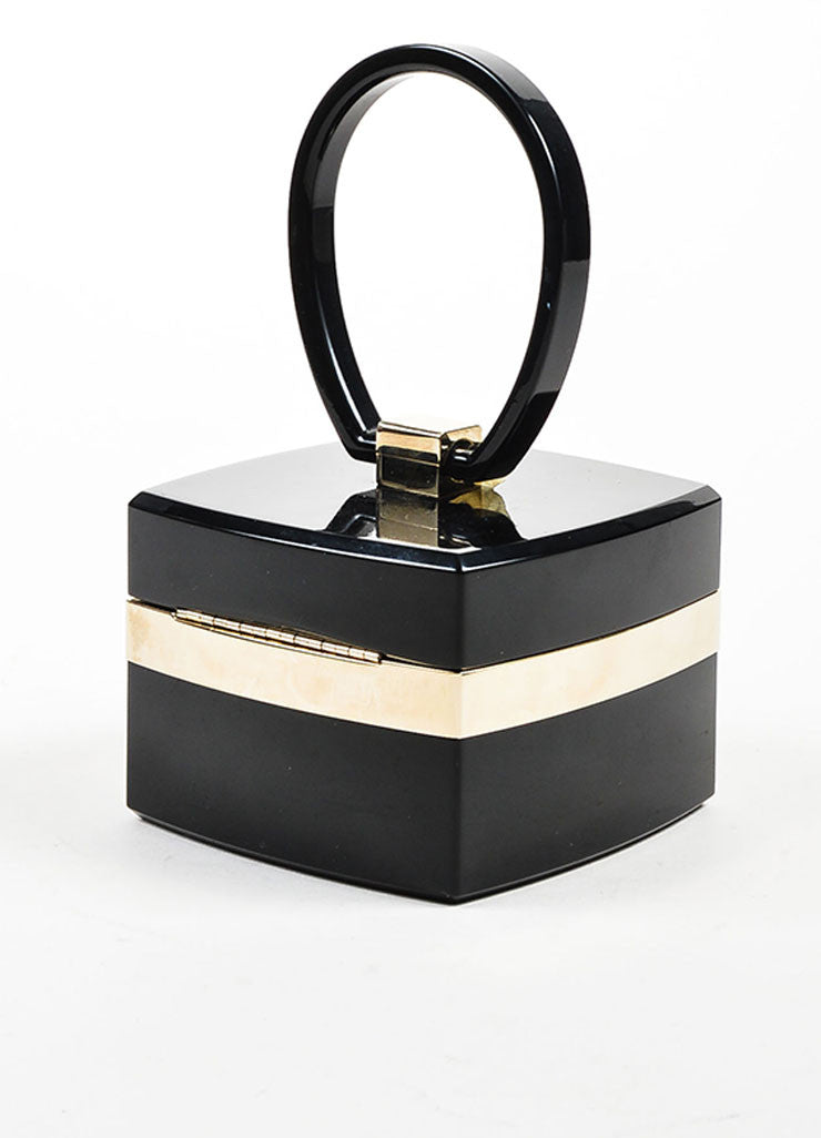 Black and Gold Toned Chanel Lucite Plexiglass 'CC' Jewelry Box Bag Sideview