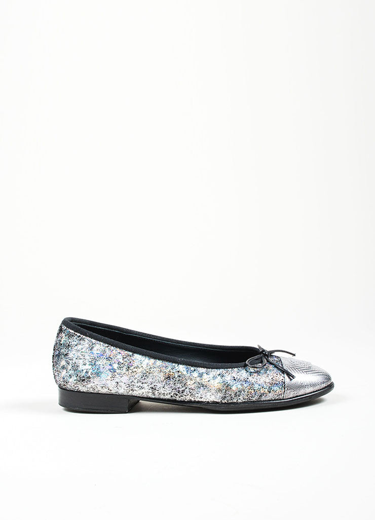 Metallic Silver and Black Chanel Hologram Leather 'CC' Cap Toe Ballet Flats Sideview