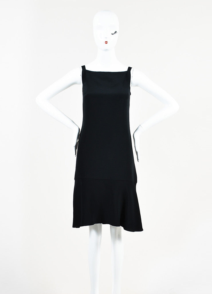 Chanel Black Silk 'CC' Detail Sleeveless Flounce Hem Slip Dress Frontview