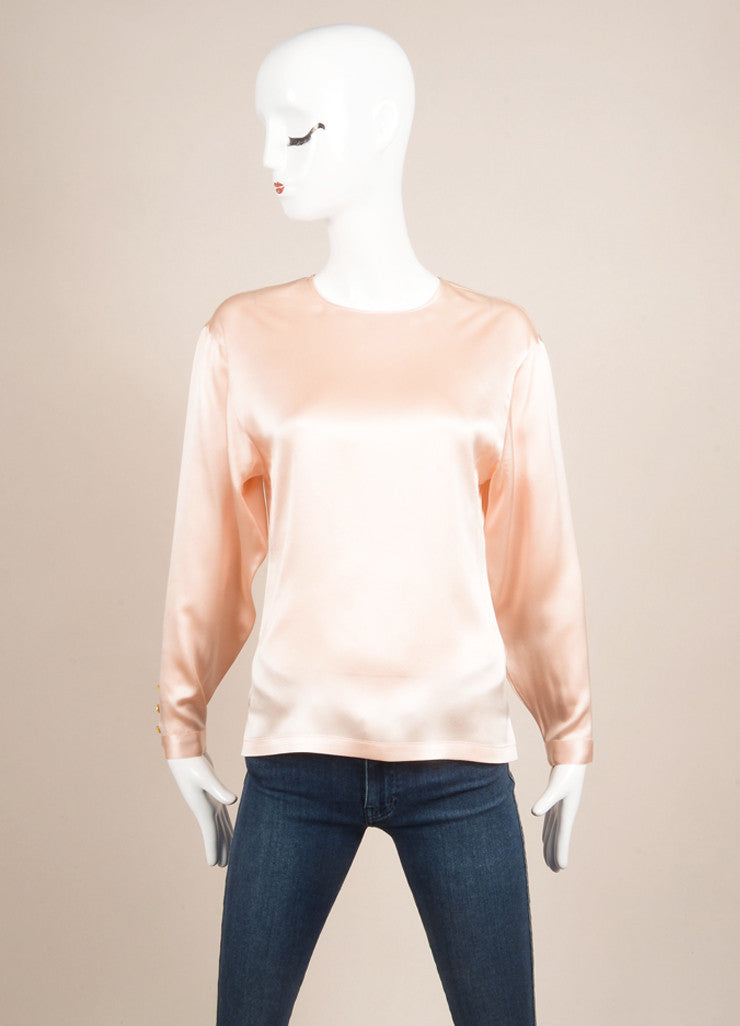 Chanel Pink and Gold Four Leaf Clover Embellished Silk Blouse Frontview