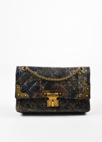 Chanel Special Edition Grey Coated Lacquered Tweed Gold Hardware Crossbody Bag Frontview