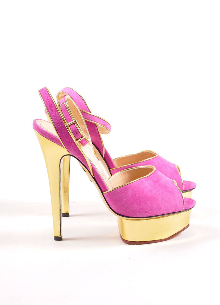 "Charlotte Olympia Fuchsia and Gold Suede ""Irina"" Peep Toe Platform Pumps Sideview"