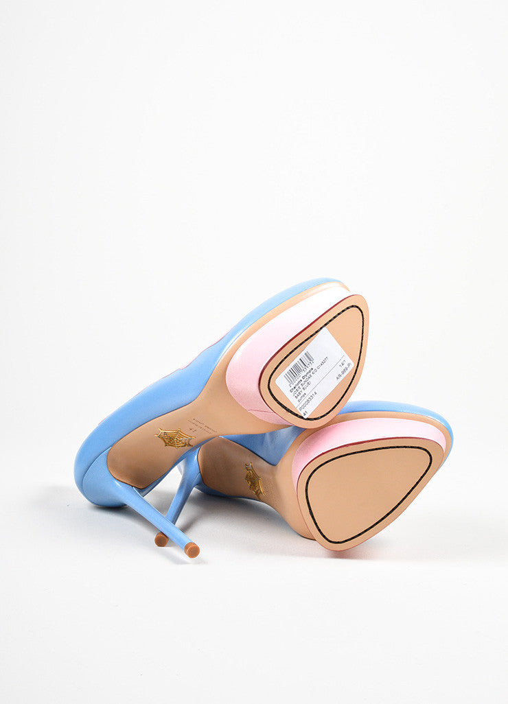 "Sky Blue and Pink Charlotte Olympia ""Josie Sundae"" Platform Stiletto Pumps Outsoles"