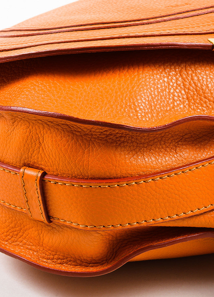 "Orange Chloe Grained Leather Saddle Crossbody ""Marcie"" Bag Detail 2"