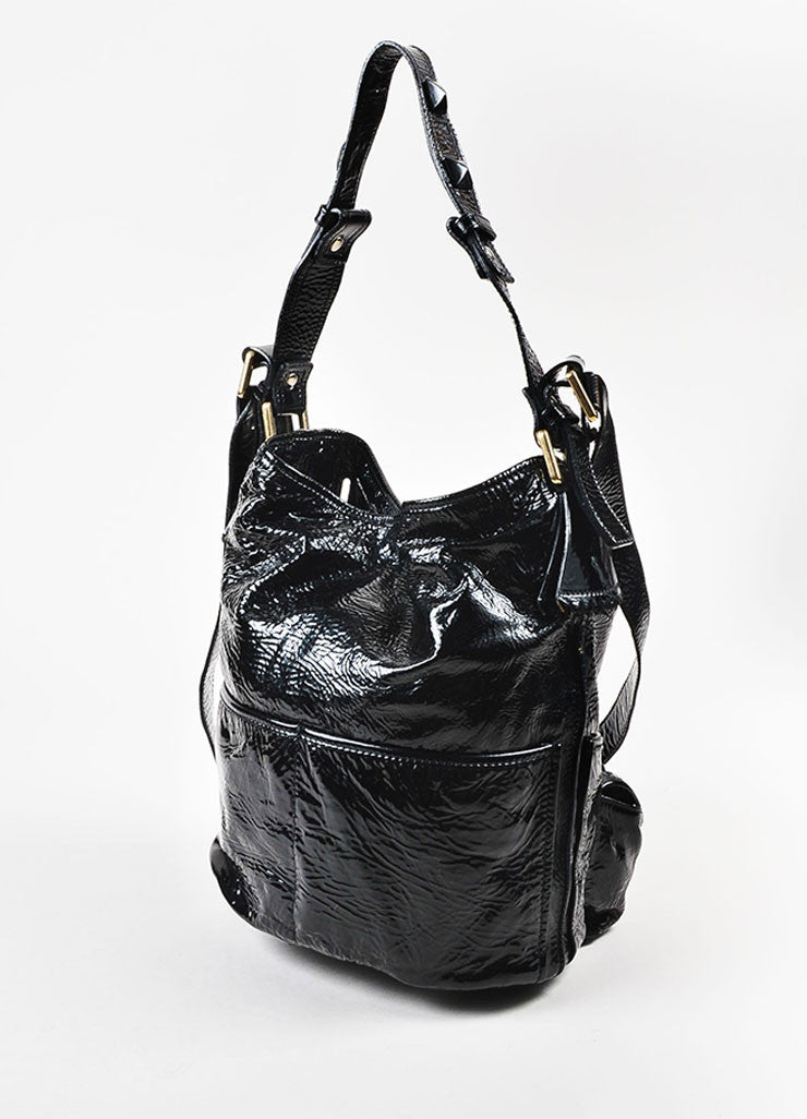 "Chloe Black Patent Crinkle Leather Pyramid Studded ""Elvire"" Shoulder Bucket Bag Sideview"