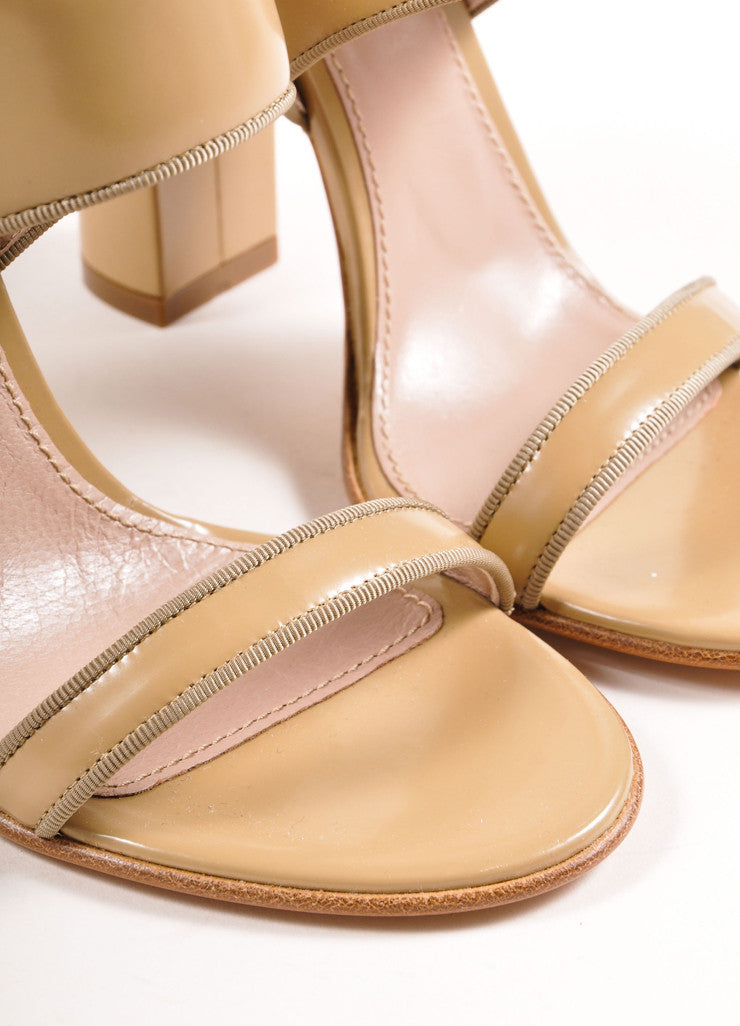 Chloe Taupe Patent Leather Chunky Heel Sandals Detail