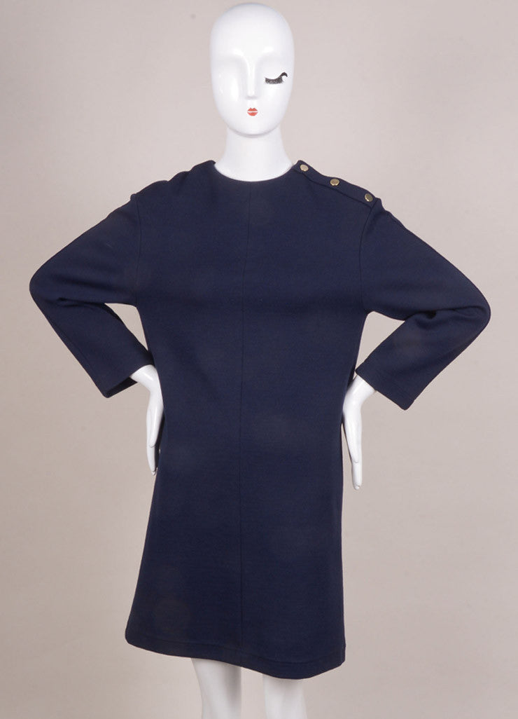 Chloe New With Tags Navy Wool Blend Long Sleeve Dress Frontview