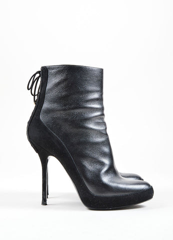 Christian Dior Black Leather and Suede Lace Up Heeled Ankle Boots Side