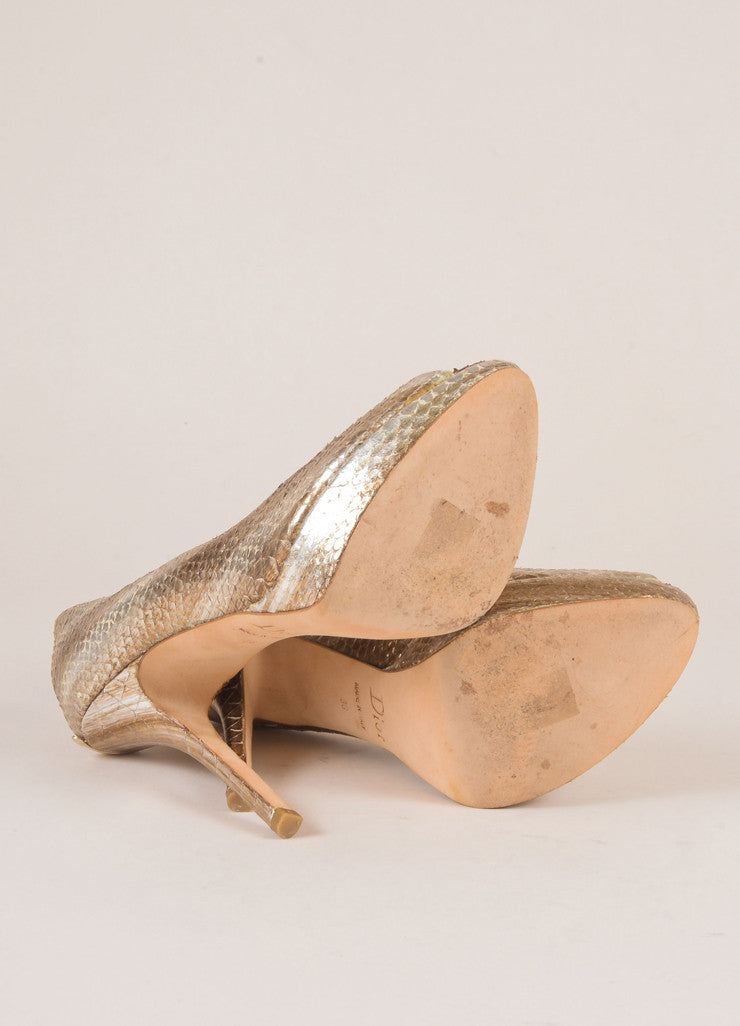 Christian Dior Silver and Gold Metallic Snakeskin Peep Toe Pumps Outsoles